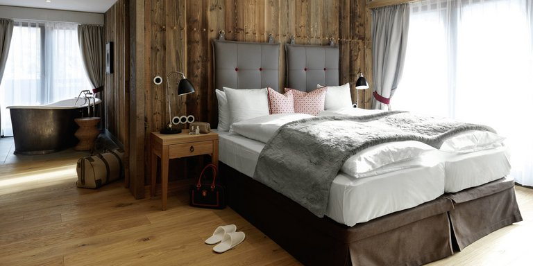 Cosy room in Alpine chic at the Löwen Hotel Montafon